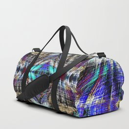 geometric symmetry pattern abstract background in blue brown pink Duffle Bag