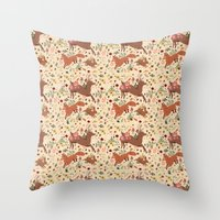 woodland Throw Pillows featuring Woodland by Sophie Eves