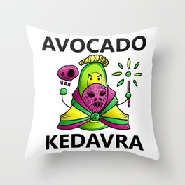 Avocado Kedavra - Death Eater Avocado with Wand Throw Pillow