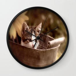 Kitten in tub Wall Clock