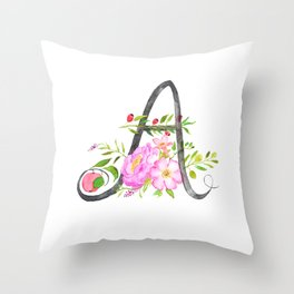 Letter A calligraphy flower watercolor Throw Pillow