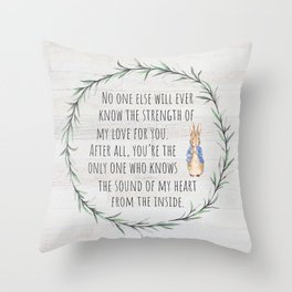 Moms Love w/Weathered wood background Throw Pillow