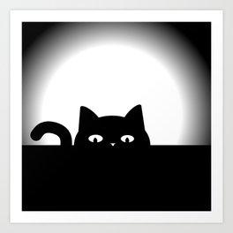 Peeking Cat Art Print
