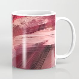 Entangled [2]: a vibrant, colorful abstract mixed-media piece in reds, pinks, black and white Coffee Mug