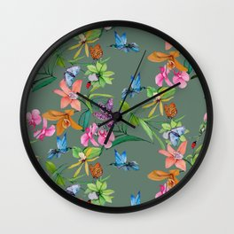 Floral pattern, plants and hummingbirds on green background Wall Clock