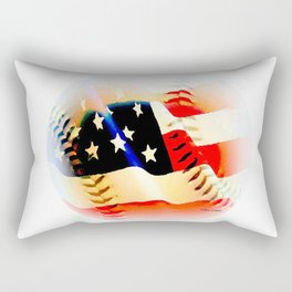 Baseball And Americn Flag Painting By Annie Zeno  Rectangular Pillow