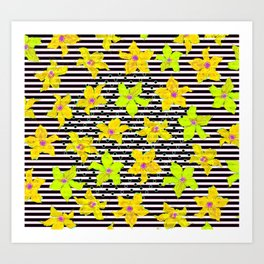 Yellow Bumblebee Flowers and Stripes Pattern Art Print