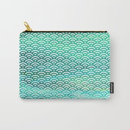 Black/Sea Green/Cyan Watercolor Seigaiha Carry-All Pouch