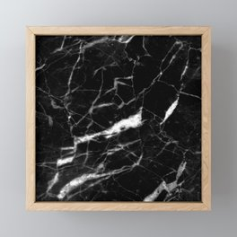 modern chic minimalist abstract black marble Framed Mini Art Print