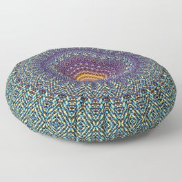 Happy Sun Circle Bohemian Geometric Thread Weave Pattern \\ Yellow Green Blue Purple Color Scheme Floor Pillow