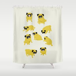 Good Vibes With Nasty The Pug Shower Curtain