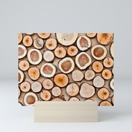 A Pattern Of Wooden Cuttings Mini Art Print