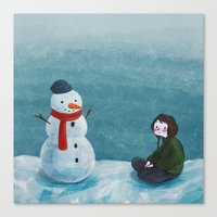 snowman Canvas Prints featuring Snowman by Tona