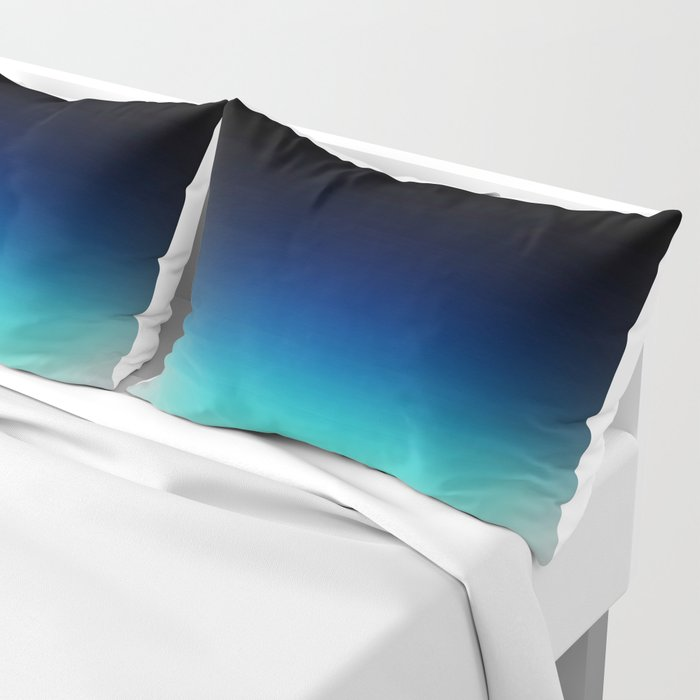 Blue Gray Black Ombre Pillow Sham