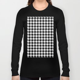 Black and White Houndstooth Pattern Long Sleeve T-shirt