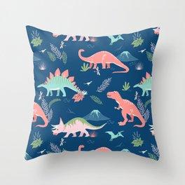 Jurassic Dinosaurs on Blue Throw Pillow