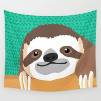 brad pitt Wall Tapestries featuring Brad Sloth by AEle