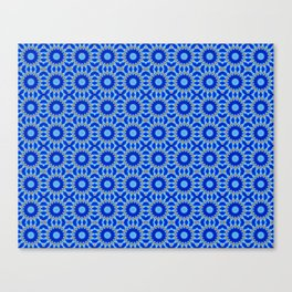 Blue and Yellow Circle Repeating Pattern Canvas Print