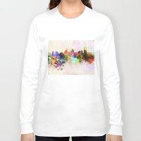 cincinnati Long Sleeve T-shirts featuring Cincinnati skyline in watercolor background by Paulrommer