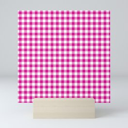 Shocking Hot Pink Valentine Pink and White Buffalo Check Plaid Mini Art Print