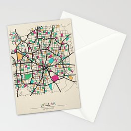 Colorful City Maps: Dallas, Texas Stationery Cards