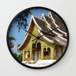 Golden Buddhist Temple, Luang Prabang, Laos Wall Clock