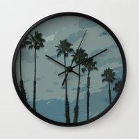 palms Wall Clocks featuring Palms by Amanda Bates