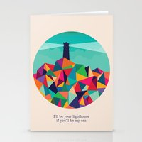 sayings Stationery Cards featuring I'll be your lighthouse if you'll be my sea by Picomodi