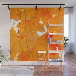 Fall Orange Maple Leaves On A White Background #decor #buyart #society6 Wall Mural