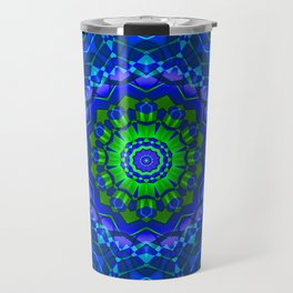 green blue kaleidoscope Travel Mug
