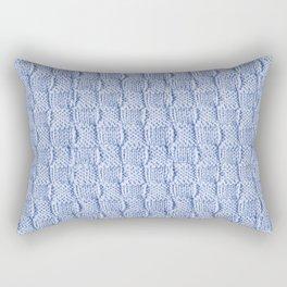 Pale Blue Knit Textured Pattern Rectangular Pillow
