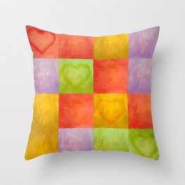 Colored Tiles with Hearts Throw Pillow