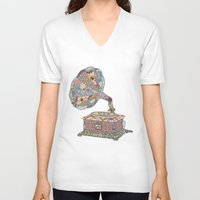 antique V-neck T-shirts featuring SEEING SOUND by Bianca Green