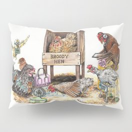 """Life in the Coop"" funny chicken watercolor Pillow Sham"