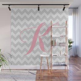 "Gray Chevron with Pink ""K"" Monogram Wall Mural"