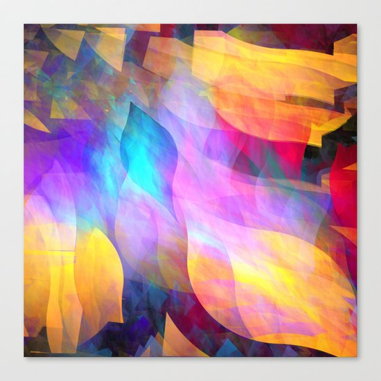 Colourful abstract with leaf shapes Canvas Print