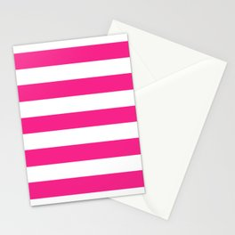 Barbie Pink (1999-2004) - solid color - white stripes pattern Stationery Cards