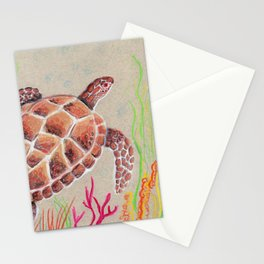 Tan Sea Turtle Stationery Cards