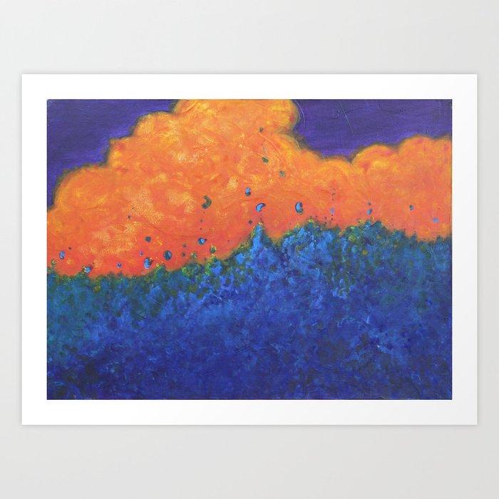Between Blaze and Bluebells Art Print