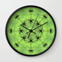Fern frond fantasy kaleidoscope Wall Clock