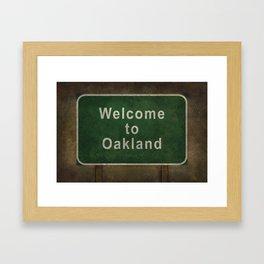 Welcome to Oakland road sign illustration Framed Art Print