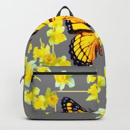 YELLOW MONARCH BUTTERFLY YELLOW DAFFODILS GREY ART Backpack
