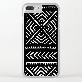 Line Mud Cloth // Black Clear iPhone Case