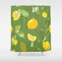 Watercolor Lemon & Leaves 6 Shower Curtain