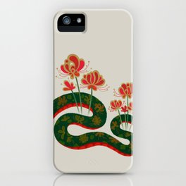 Snake and flowers iPhone Case