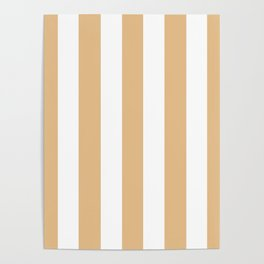 Pale gold pink - solid color - white vertical lines pattern Poster