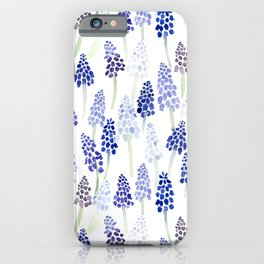 Grape Hyacinth Watercolor Pattern iPhone Case