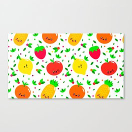 Cute & Whimsical Fruit Pattern with Kawaii Faces Canvas Print