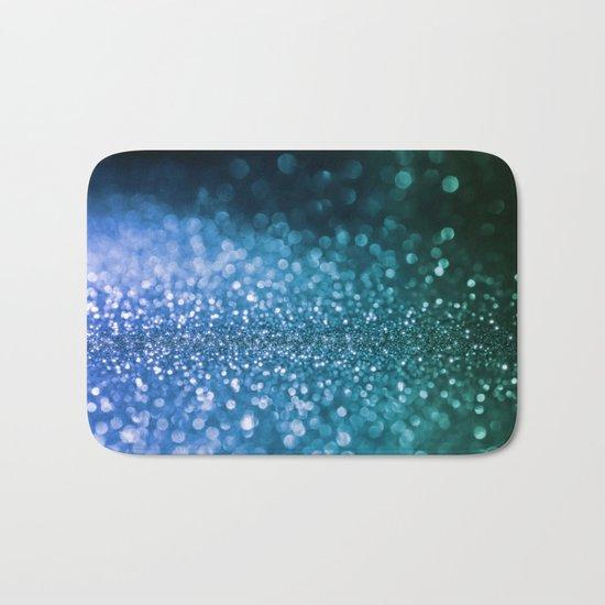 Foam on the sea - Blue glitter effect texture Bath Mat