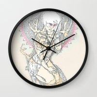 monster hunter Wall Clocks featuring hunter by Cassidy Rae Marietta